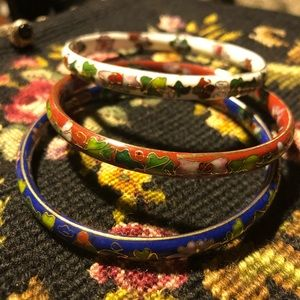 Vintage Cloisonné Bangle Bracelets